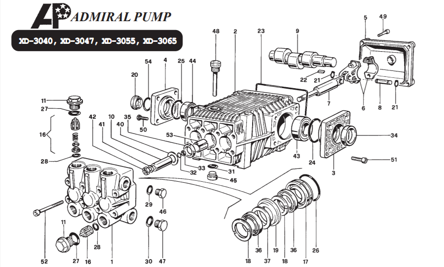 admiral pump xd-3040 xd 3047 xd 3055 xd 3065 pressure washer pump repair parts guide