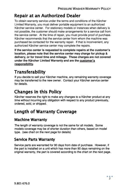 Karcher Commercial Pressure Washer Warranty